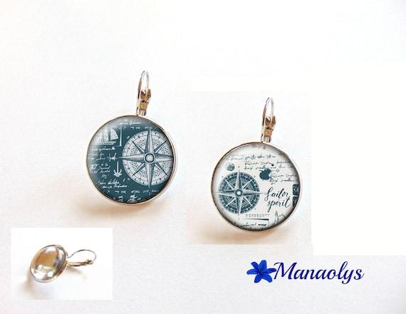 Pierced ears pattern compass, nautical, sea, sleepers, 3518 glass cabochons
