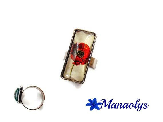 Ring adjustable antique silver restangle, red flowers, poppies, 213 glass cabochons