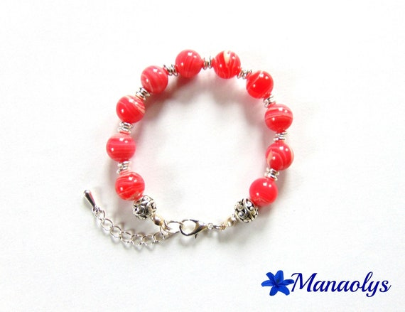 Bracelet coral and white agate beads and silver 218