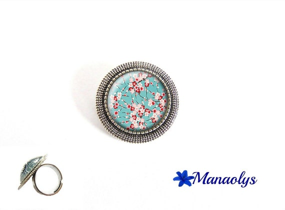ring adjustable round silver aged, flowers of Japan, Sakura, cherry blossom, 223 glass cabochons