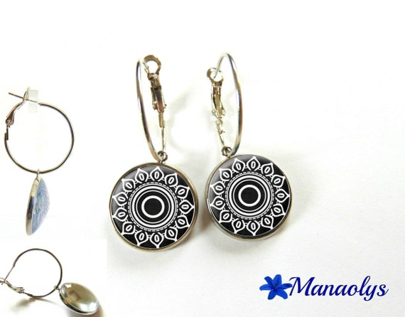 Hoop earrings silver black and white pattern glass, flower, geometric 3156 cabochons