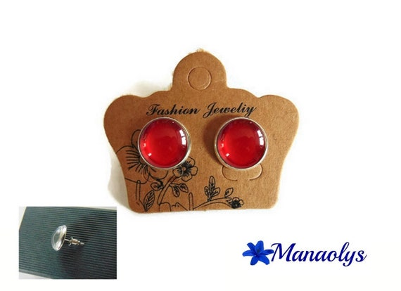 Red, silver, Stud Earrings round, 3277 glass cabochons