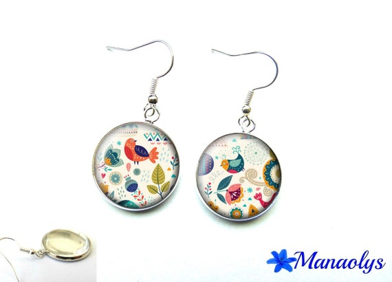Earrings cabochon glass birds and flowers 2589