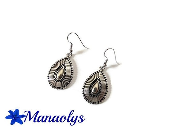 Ethnic, tribal earrings, pendants shape drop, silver antique