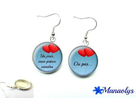 "Earrings humor, ""someday my prince will come"", hearts, 2821 glass cabochons"