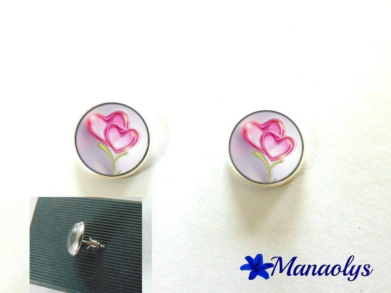 Round silver Stud Earrings, hearts, 2995 glass cabochons