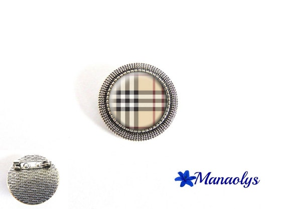 Brooch brooch Burberry Burberry Plaid PIN patterns, tiles, tile, burberry, glass cabochons