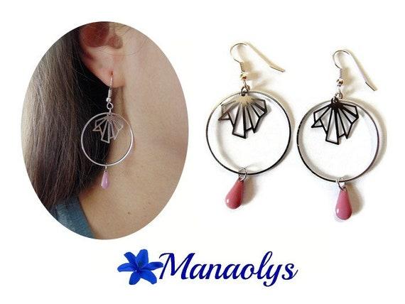 Creole earrings silver, steel fan drops enameled light pink