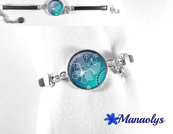 Black leather bracelet, white butterflies on blue background 443 glass cabochon