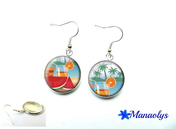 Holiday, edge of the sea, vacation photo, cocktail, colorful earrings, glass 3555 cabochons earrings