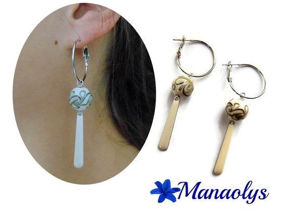 Earrings white off, dangling hoop earrings, Lampwork Glass Beads and enamel pendants