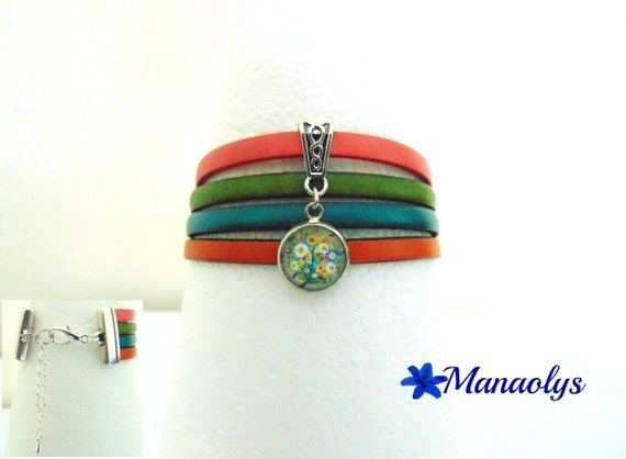Cuff Bracelet multicolor genuine leather, tree glass cabochon flowery 376
