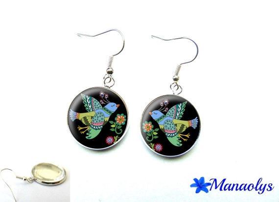 Earrings multicolored bird, 1946 glass cabochons