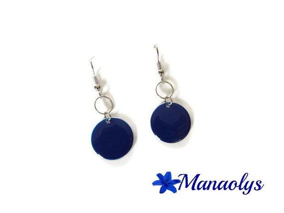 Earrings Navy blue enamel, sequins round enamelled silver ring