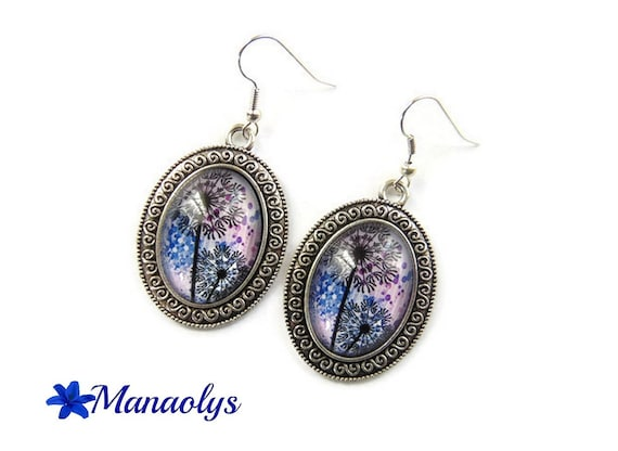 Supports, dandelion, dandelion, Flower Earrings bronze oval, 3210 glass cabochons