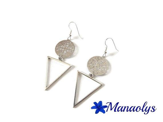 Ethnic earrings, geometric shape, lightweight pendants, silver triangles