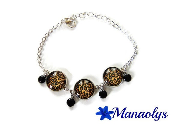 Bracelet leopard patterns leopard, enamel, charms bracelet charms, glass cabochons