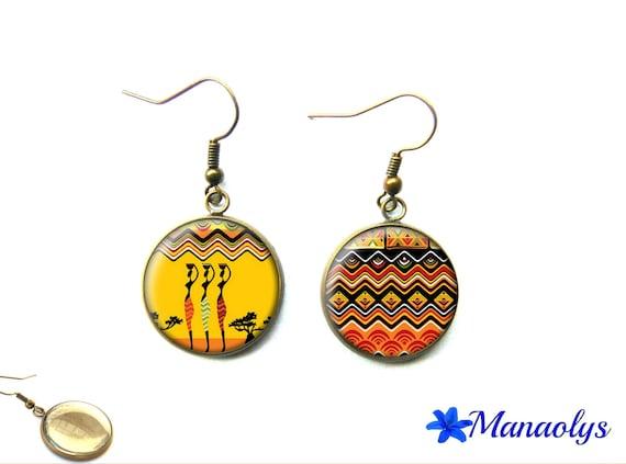 African motifs, African women, vintage, bronze, glass 2342 cabochons earrings