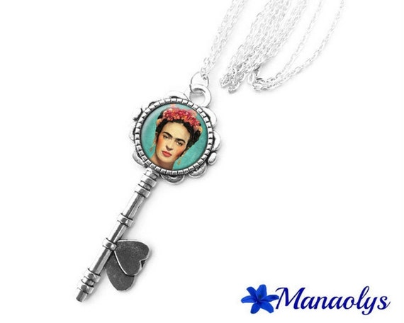 long necklace silver key, Frida Kahlo, portrait, art, painting, 419 glass cabochons