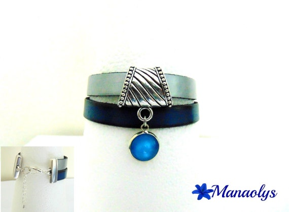 Genuine leather, silver and blue, blue cabochon Cuff Bracelet resin 373