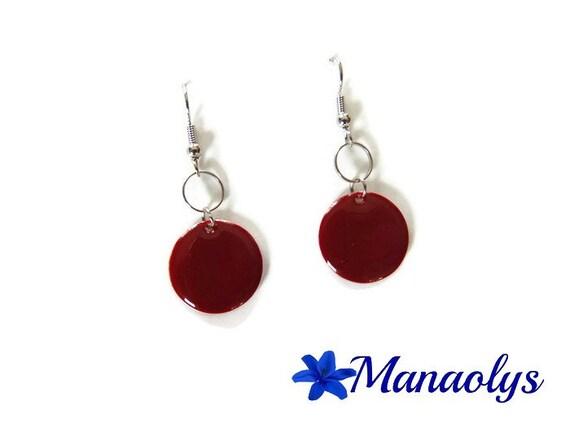 Burgundy enamel, enamelled round sequins, silver rings earrings