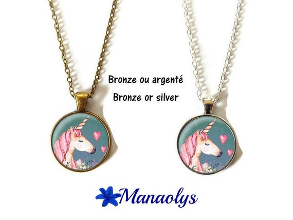 Unicorn or unicorn cabochons glass, silver or bronze supports necklace necklace