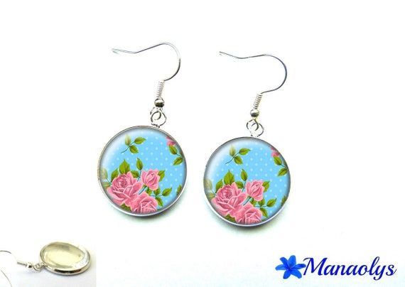 Flower Earrings pink, turquoise background with dots, 1400 glass cabochons