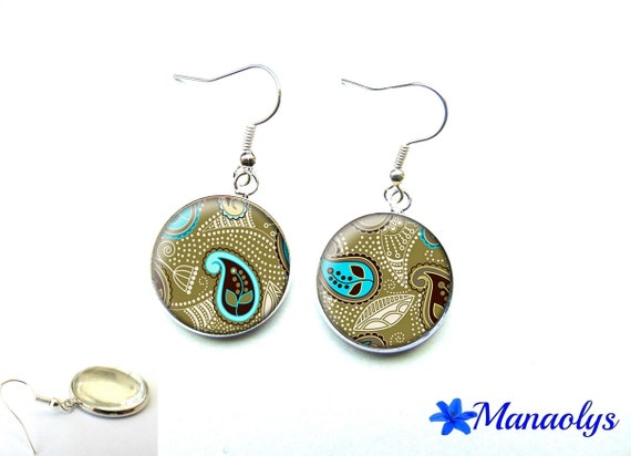 Earrings turquoise, and khaki patterns 1544 glass cabochons