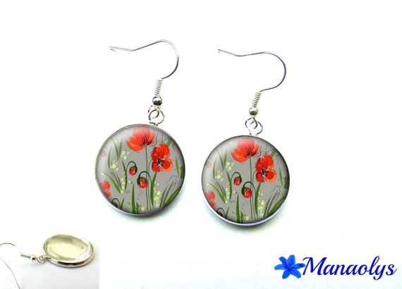 Silver earrings red flowers, poppies on a gray background 2878 glass cabochons