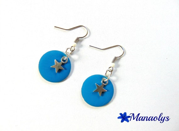 Earrings, round blue enameled charms and silver stars 2042