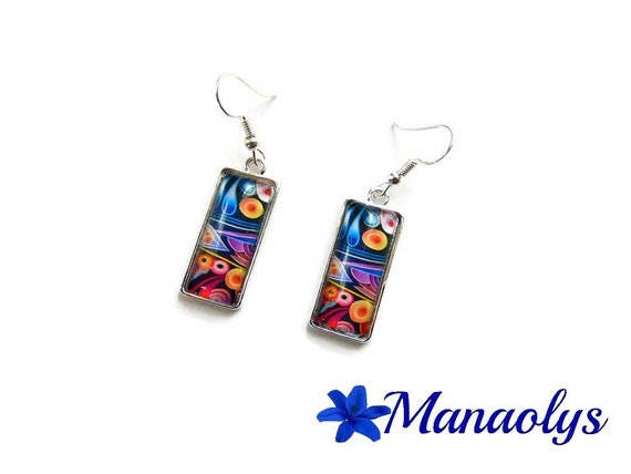 Rectangles, multicolor earrings, earrings colorful earrings, multicolored patterns, glass cabochons