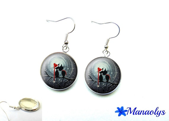 Earrings cats, Christmas, Christmas gift, Christmas jewelry, Christmas earrings, cabochons glass 1889
