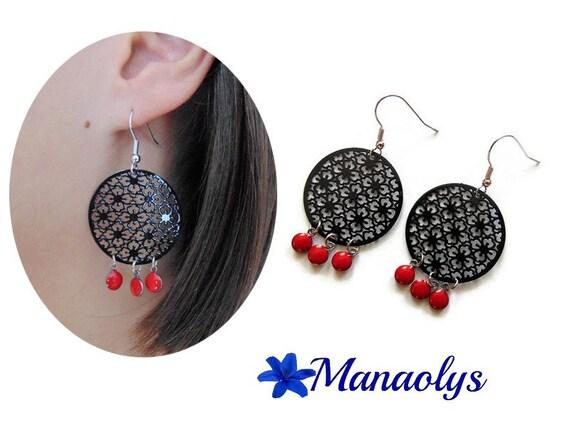 Red and black earrings, earrings pendants, Bohemian black, filigree, enamel