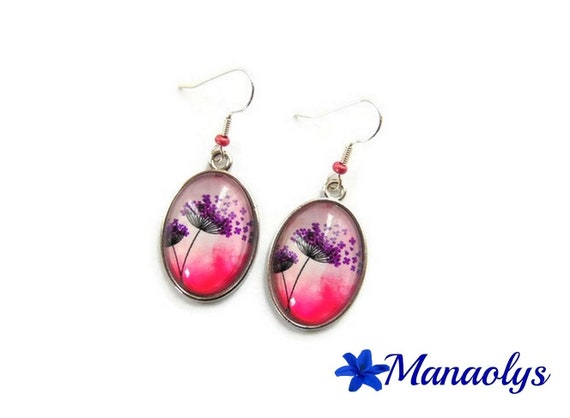 Earrings oval flowers pink and purple, dandelion, 3190 glass cabochons