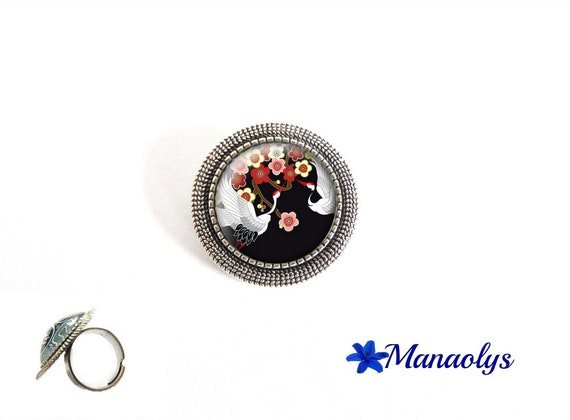 ring adjustable antique silver round Japanese, Japanese, Japanese flower, colorful ring, glass cabochons