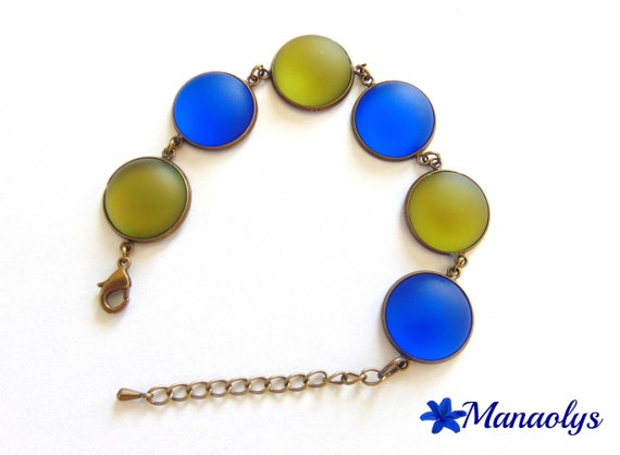 """Soft luna"" resin bracelet vintage cabochons *, blue and khaki 269"