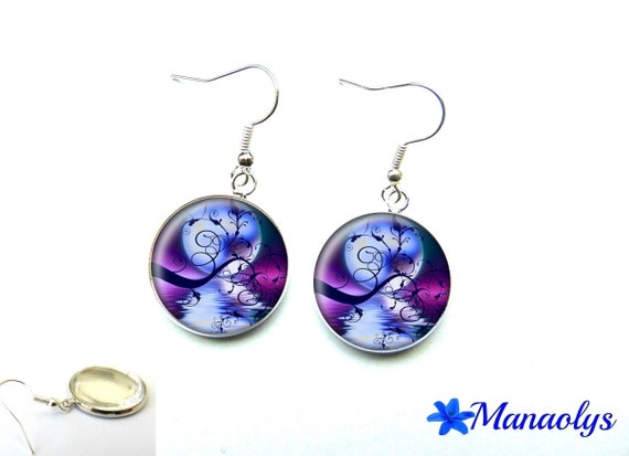 Earrings full moon, birds, purple and blue, 1864 glass cabochons