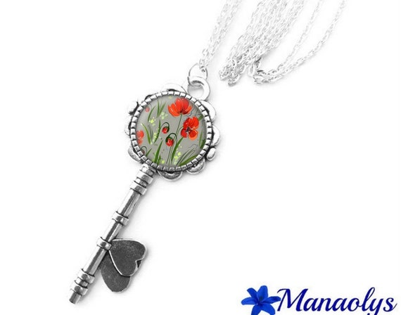 Necklace silver key, cabochon glass, red flowers, poppies