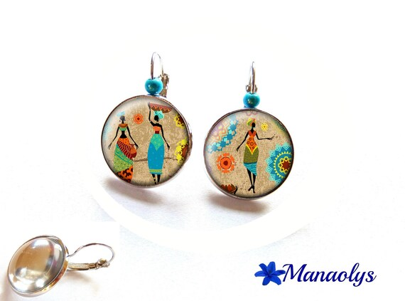 Stud Earrings, women earrings, African motifs, 3083 glass cabochons