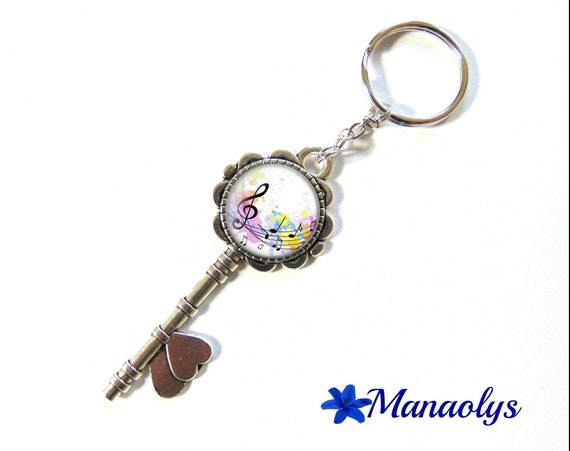 Key ring or jewelry bag, music notes, glass cabochons