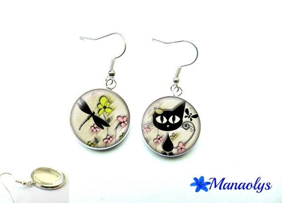 Cat, dragonfly and flower glass 1335 cabochons earrings
