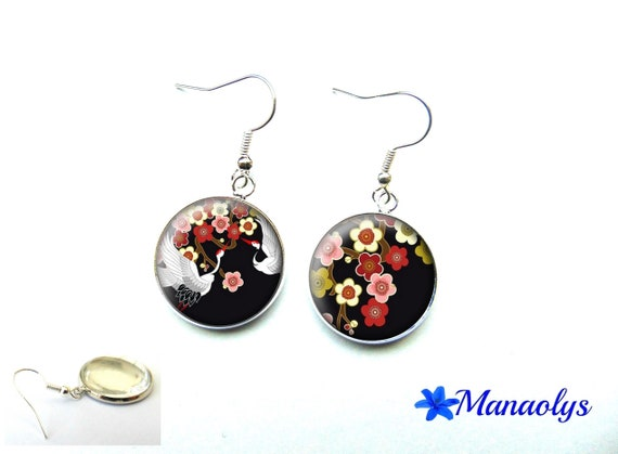Birds and flowers, Japanese, Japan, Japanese glass, flower of Japan 3550 cabochons earrings