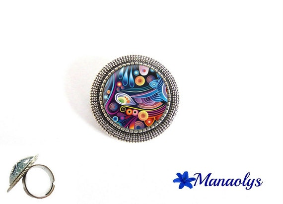 ring adjustable antique silver round, multicolored patterns, 183 glass cabochons