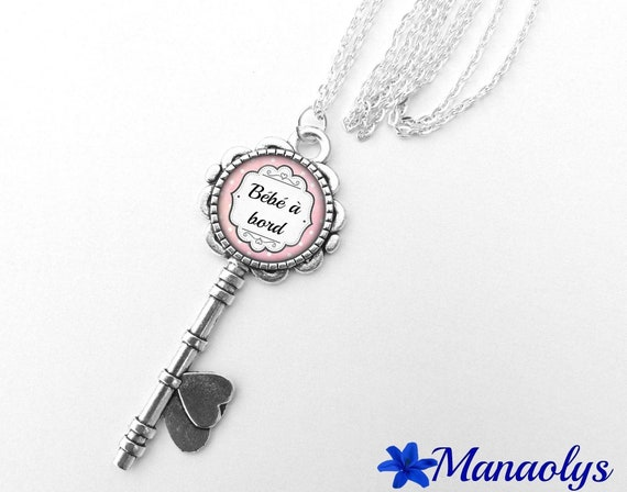 """Necklace silver key, """"Baby"""" message to edge glass cabochon 357"""