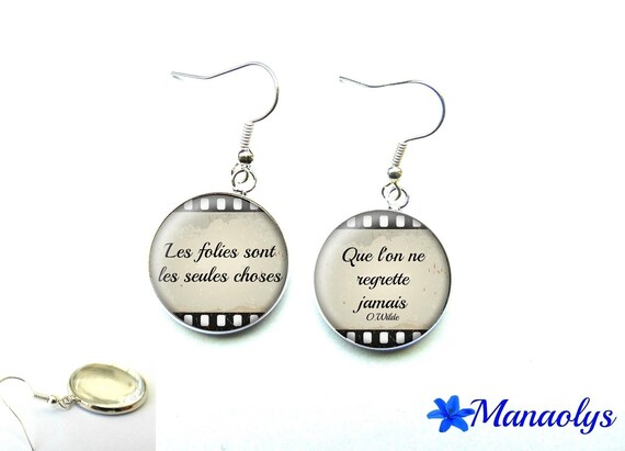 Message, quote, 2192 glass cabochons earrings
