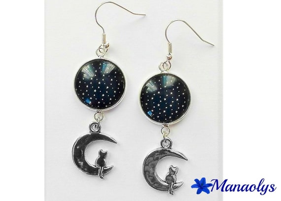 Earrings white stars on blue marine, glass, cat on Moon 3039 charm cabochons