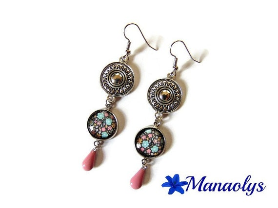 Flowers earrings, ethnic, enamel, mother's day, glass cabochons