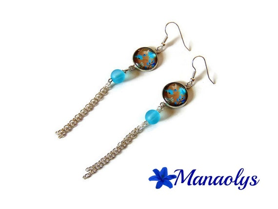 Long earrings blue flowers, beads blue resin, silver chains 3263
