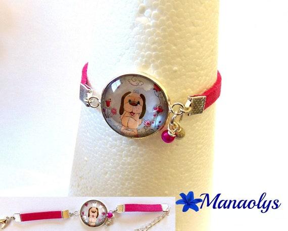 Children's bracelet, girls, suede fuchsia Doggie 214 glass cabochon