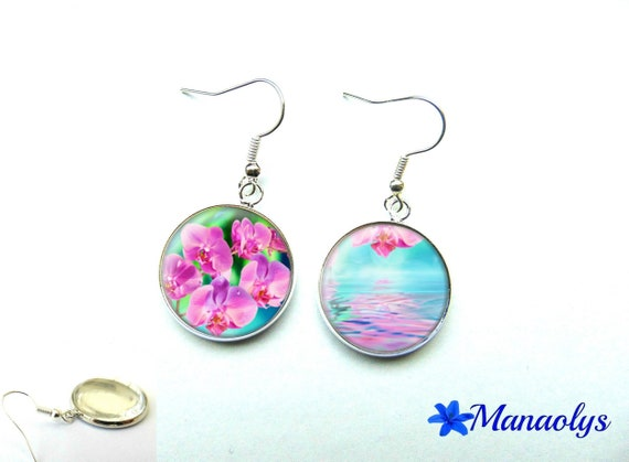 Orchids, pink and blue glass 1114 cabochons earrings
